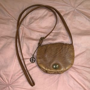 Small Leather Crossbody Peace Sign Purse